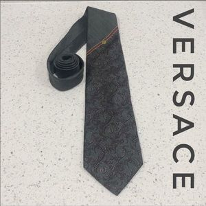 Versace Charcoal Striped Baroque Rose Thorn Tie